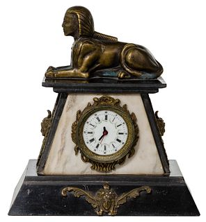 Bronze and Marble Architectural Mantle Clock
