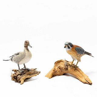 2 PCS, DUCK & FALCON CARVINGS BY JOHN SHARON