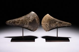 Two Early European Stone Axe Heads Width of largest 6 1/2 inches.