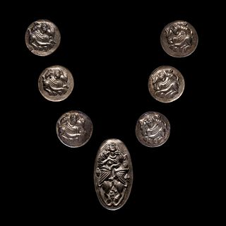 A Scythian or Thracian Silver Bridle Set Height: large plate is 5 inches and phalerae are 2 1/2 inches each.
