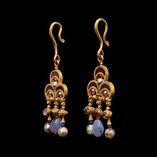 A Pair of Byzantine Gold Earrings with Garnet, Pearl and Chalcedony Elements Height 3 1/2 inches.