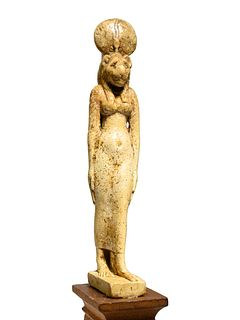 An Egyptian Faience Sekhmet Height 4 1/2 inches.