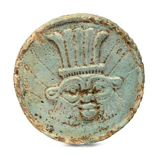 An Egyptian Faience Two-Sided Medallion  Height 2 inches.
