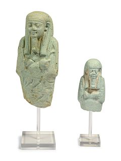 Two Egyptian Faience Ushabti Fragments Height of tallest 3 1/2 inches.