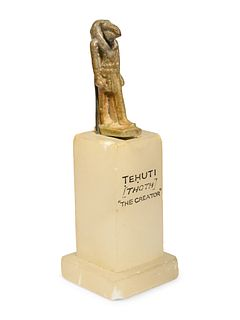 An Egyptian Faience Thoth Height 1 3/8 inches.
