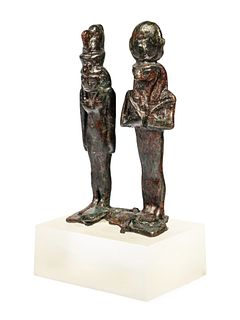 An Egyptian Bronze Dyad of Isis and Horus  Height 3 inches.