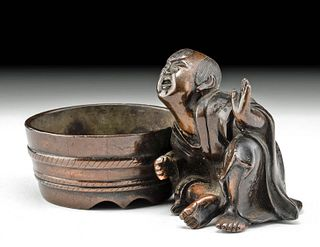 19th C. Japanese Meiji Bronze Child w/ Tub