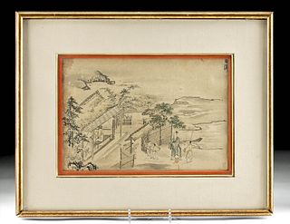 19th C. Framed Japanese Ink & Watercolor Painting