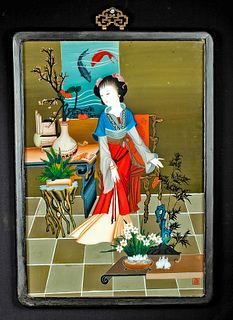 Antique Chinese Reverse Glass Painting w/ Courtesan