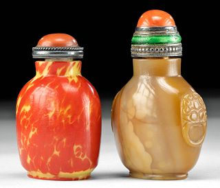 Two Chinese Qing / Republic Glass & Stone Snuff Bottles