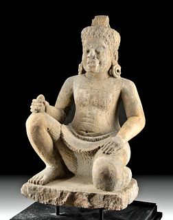 Large 10th C. Cambodian Khmer Stone Dvarapala Figure
