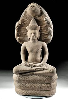 11th C. Khmer Stone Buddha on Naga Throne