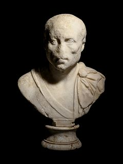 A Roman Marble Portrait Bust of a General Height 22 x width 14 1/2 inches.