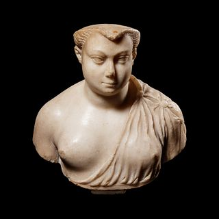 A Roman Marble Bust of a Woman Height 8 inches.