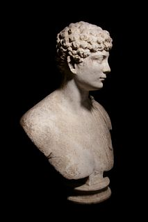A Roman Marble Portrait Bust of a Man Height 27 1/2 x width 19 1/2 inches.