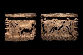 A Palmyrene Limestone Relief 24 x 27 inches. 24 x 34 inches.