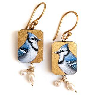 Blue Jay Earrings