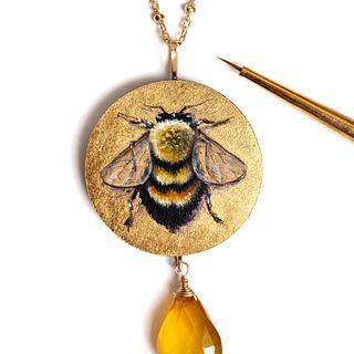 Round Bumblebee Pendant with Chalcedony