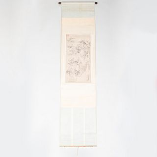 Chinese Scroll with Mountains and Colophon