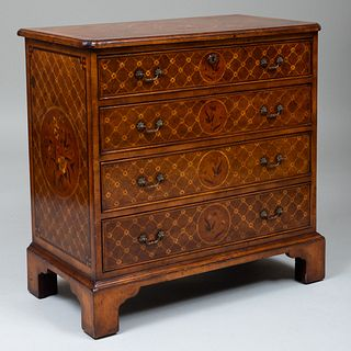 George III Style Burlwood and Fruitwood Trellis Parquetry Chest of Drawers