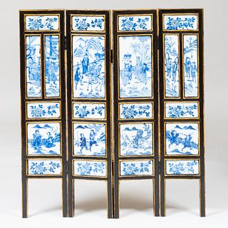 Chinese Blue and White Porcelain Mounted Ebonized Four Panel Table Screen