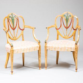 Pair of George III Painted Armchairs