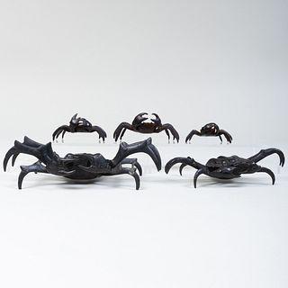 Group of Five Bronze Models of Crabs