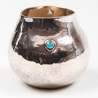 English Silver Bud Vase Inset with Cabochon