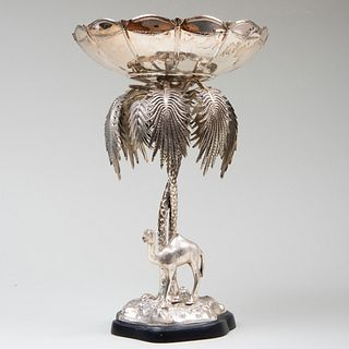 Silvered Metal Centerbowl Cast with Camel and Palm Tree