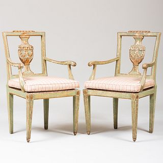 Pair of Italian Neoclassical Painted and Silver-Gilt Armchairs