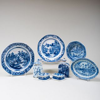 Group of Chinese Export Blue and White Tablewares