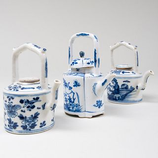 Three Chinese Blue and White Porcelain Wine Pots