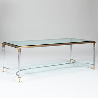 Modern Steel, Gilt-Bronze and Glass Low Table