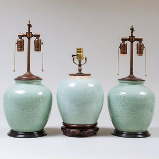 Pair of Chinese Celadon Vases and a Ginger Jar Mounted as Lamps