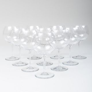 Set of Ten Baccarat Glass Balloon Wine Glasses