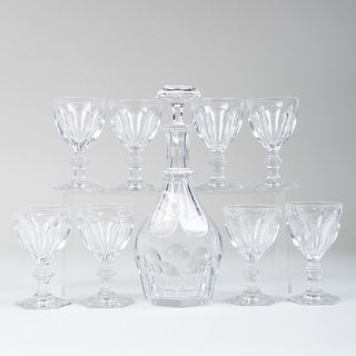 Baccarat Glass Decanter and a Set of Eight Glasses