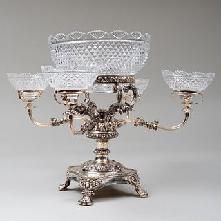 Victorian Silver Plate and Cut Glass Epergne