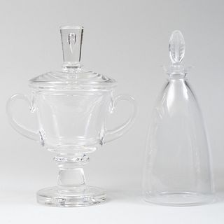 Lalique Glass Decanter and Steuben Cup and Cover