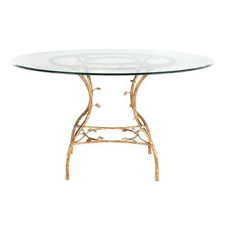 Round Contemporary Gilt Metal Dining Table