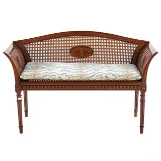 Italian Louis XVI Style Cane Seat Window Bench