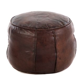 Contemporary Small Round Leather Footrest