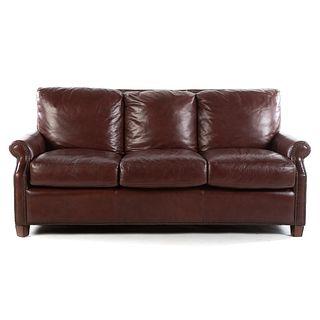 Classical Style Three-Cushion Leather Sofa