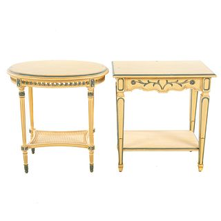 Two Louis XVI Style Painted Tables by Jules Rist