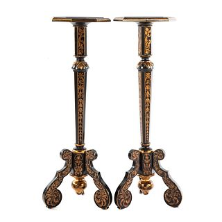 A Pair of Edwardian Style Ebonized Pedestal Stands