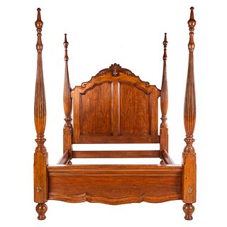 French Cottage Chestnut Queen-Size Poster Bed