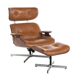 Eames Style Leather Chair & Ottoman