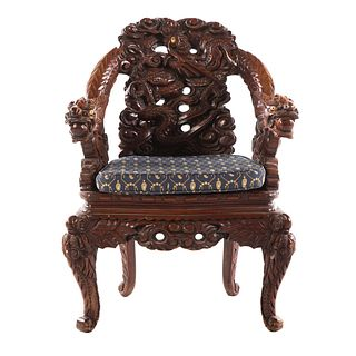 Chinese Export Carved Wood Arm Chair