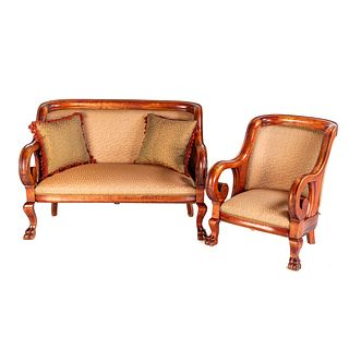 Classical Style Stained Wood Parlor Suite
