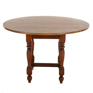 Mixed-Wood Round Breakfast Table