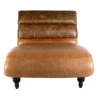 Large Tooled Leather Upholstered Chaise Lounge